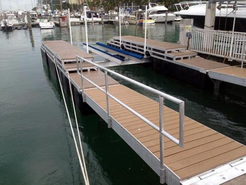 long and brown aluminum floating dock
