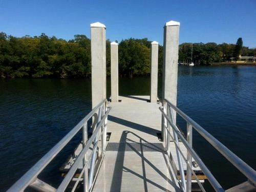aluminum dock leading to water