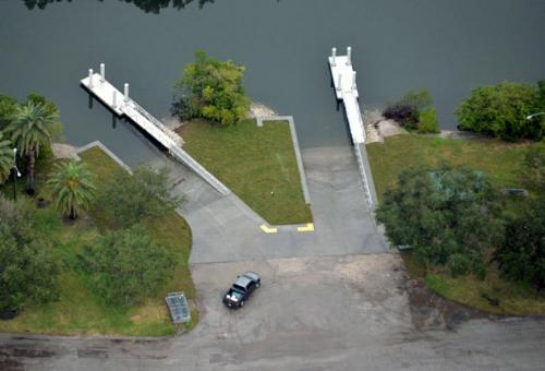 aerial view of two individual aluminum docks in water