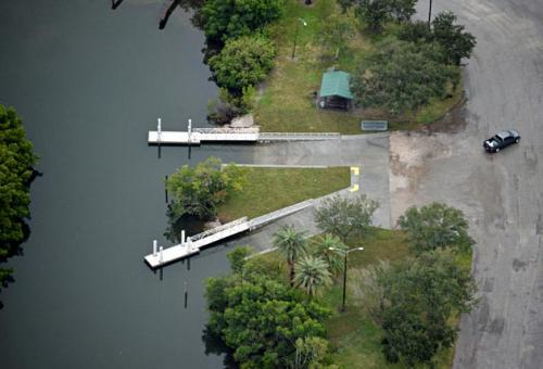 angled aerial view of two individual aluminum docks in water