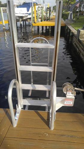 close up of stairs of kayak launch