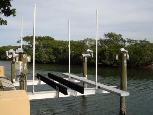 4 post boat lift with walkway